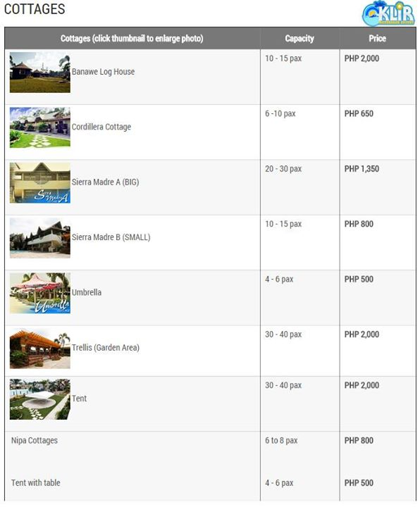 klir waterpark resort cottage rates details