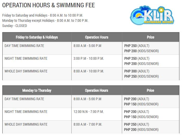 klir waterpark resort entrance fees details